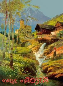 Aosta Valley (Valle D'Aosta), Italy - Italian Alps - Ski Village by Pacifica Island Art