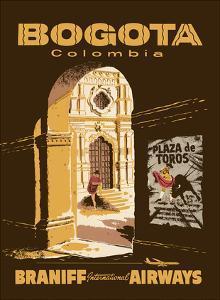 Bogota, Colombia - Bullfighting Bullring - Braniff International Airways by Pacifica Island Art