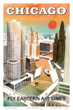 Chicago, USA - Marina City, Chicago River - Fly Eastern Airlines
