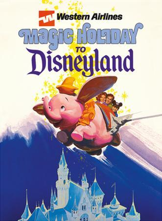 Disneyland Magic Holiday - Western Airlines - Dumbo the Flying Elephant by Pacifica Island Art
