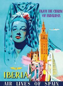 Enjoy the Charm of Andalusia, Spain - Spanish Senorita - Iberia Air Lines of Spain by Pacifica Island Art