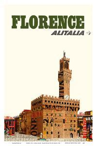 Florence, Italy - Alitalia Airlines - Palazzo Vecchio (The Old Palace) by Pacifica Island Art