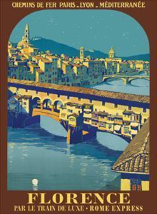 Florence, Italy - Ponte Vecchio - Chemins de fer de Paris-Lyon-Méditerranée (PLM) by Pacifica Island Art