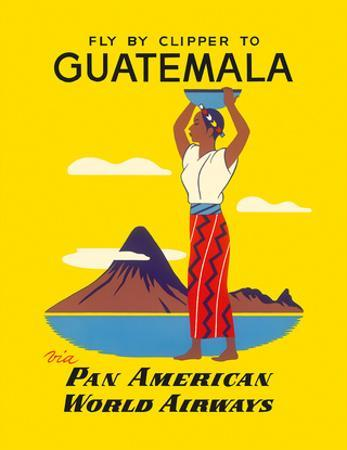 Fly by Clipper to Guatemala - Native Indian Woman, Pacaya Volcano - via Pan American World Airways