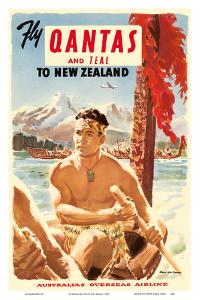 Fly Qantas and TEAL to New Zealand - Qantas Empire Airways (QEA) - Australia's Overseas Airline - M by Pacifica Island Art