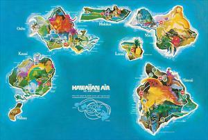 Hawaii Islands Route Map - Hawaiian Air Lines by Pacifica Island Art