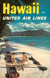 Hawaii - United Air Lines - Couple on Hawaiian Outrigger Canoe (Wa'a) by Pacifica Island Art
