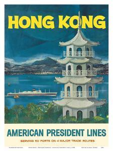 Hong Kong - Fragrant Harbour - American President Lines by Pacifica Island Art