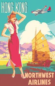 Hong Kong - Northwest Airlines - Boeing 377 Stratocruiser - Chinese Junk by Pacifica Island Art