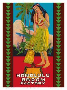 Honolulu Hawaii Broom Factory - Hawaiian Hula Girl by Pacifica Island Art