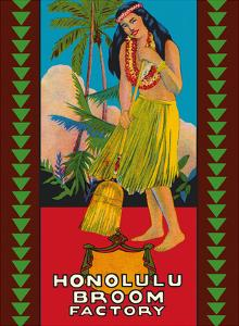 Honolulu Hawaii Broom Factory - Hawaiian Hula Girl by Pacifica Island Art