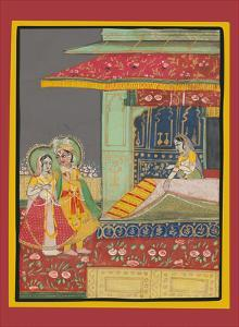 India - A Prince with his Beloved - Indian Miniature Painting by Pacifica Island Art