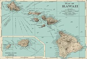 Map of Hawaii - from Rand McNally Atlas by Pacifica Island Art