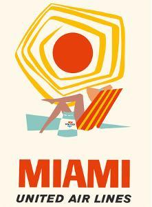 Miami, Florida - United Air Lines by Pacifica Island Art