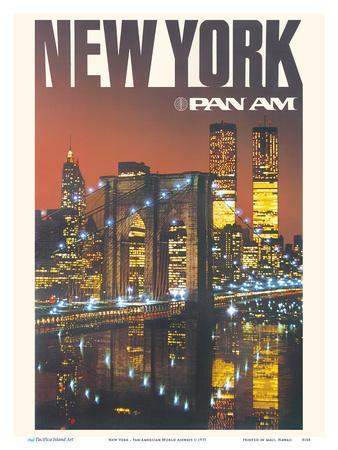 New York - Pan American World Airways - Brooklyn Bridge, Twin Towers