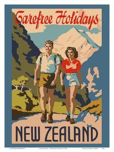 New Zealand - Carefree Holidays - Mountain Hiking by Pacifica Island Art