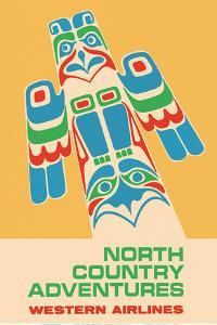 North Country Adventures - Pacific Northwest Totem Pole - Western Airlines by Pacifica Island Art