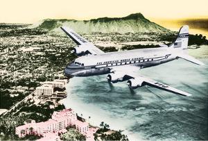 Over Oahu, Hawaii - Pan American World Airways -Diamond Head Crater, Waikiki Beach by Pacifica Island Art