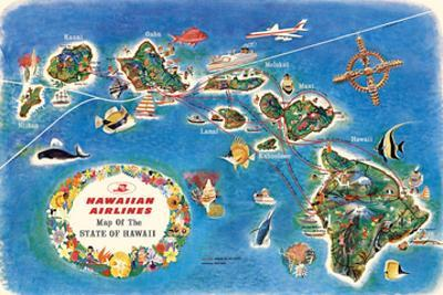 Pictorial Map of the State of Hawaii - Hawaiian Airlines Route Map