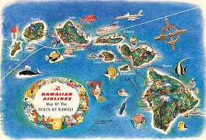 Pictorial Map of the State of Hawaii - Hawaiian Airlines Route Map by Pacifica Island Art