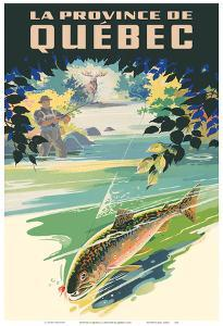Province of Quebec (La Province de Québec) - Fly Fishing Fisherman by Pacifica Island Art