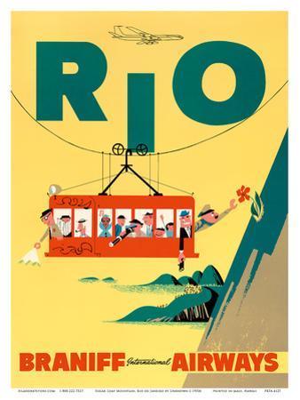 Rio de Janeiro, Brazil - Cable Car to Sugar Loaf Mountain - Braniff International Airways