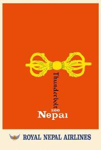 See Nepal - Buddhist Vajra, Dorje - Royal Nepal Airlines by Pacifica Island Art