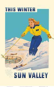 "Sun Valley, Idaho - This Winter Skiing - Bald Mountain ""Baldy"" by Pacifica Island Art"