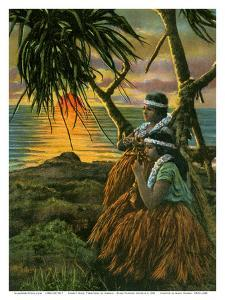 Sunset in Hilo - T.H. Territory of Hawaii USA - Native Hawaiian Hula Girls Playing Ukelele by Pacifica Island Art