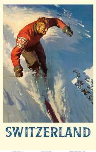 Switzerland - Alps Skiing by Pacifica Island Art