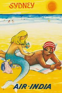 Sydney, Australia - Sun Tanning Mermaid with The Maharaja by Pacifica Island Art