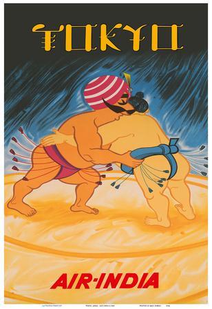 Tokyo, Japan - Air India - Maharaja vs Japanese Sumo Wrestler