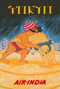 Tokyo, Japan - Air India - Maharaja vs Japanese Sumo Wrestler by Pacifica Island Art