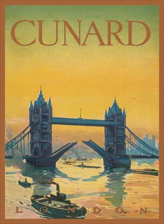 Tower Bridge, England - Cunard Line - Front Cover Passenger List T.S.S. Tuscania