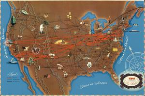 United States Air Routes Map - TWA (Trans World Airlines) by Pacifica Island Art