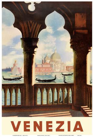 Venezia (Venice), Italy - Gondolas on Grand Canal - St. Mark's Basilica (Basilica di San Marco)