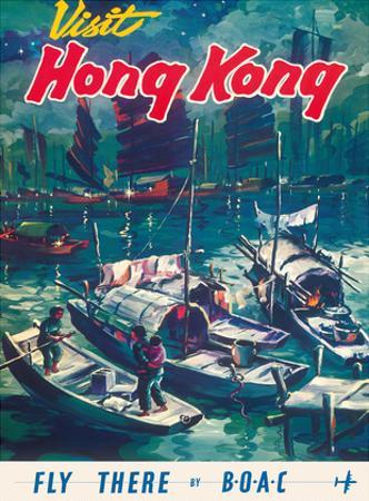 Visit Hong Kong - Hong Kong Harbor - BOAC (British Overseas Airways Corporation)