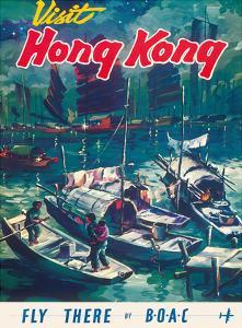 Visit Hong Kong - Hong Kong Harbor - BOAC (British Overseas Airways Corporation) by Pacifica Island Art