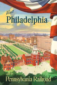Visit Philadelphia - Independence Hall - Go by Pennsylvania Railroad by Pacifica Island Art