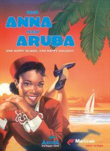 With Anna to Aruba - Martinair Airline - One Happy Island, One Happy Holiday! by Pacifica Island Art