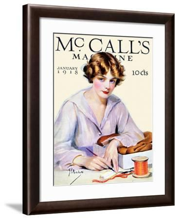 Packaging A Gift With Ribbon & Writing A Card 1918 McCall's-McCalls-Framed Art Print