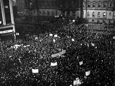 Packed Tightly in Cadillac Square are Thousands of People Who Gathered for a Mass Demonstration