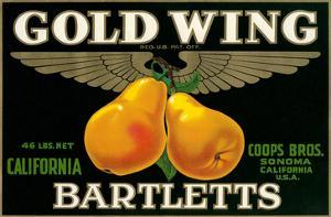 Packing Crate Label, Gold Wing Pears