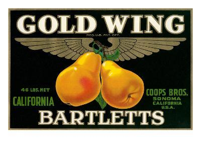Packing Crate Label, Gold Wing Pears--Art Print