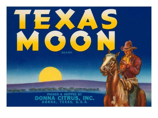 Packing Crate Label, Texas Moon--Art Print