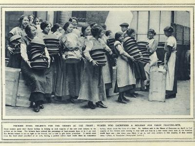 Packing Steel Helmets for the Troops at the Front--Photographic Print