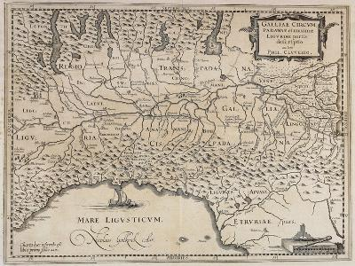 Padan Region and Liguria Region, Map from the Historical Atlas Italia Antiqua, 1624--Giclee Print