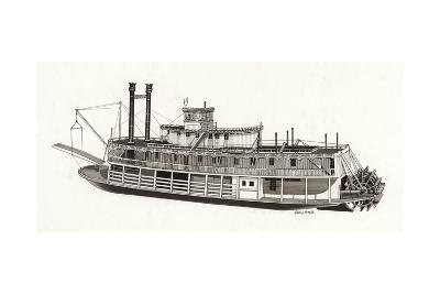 Paddle Steamer, 1818--Giclee Print