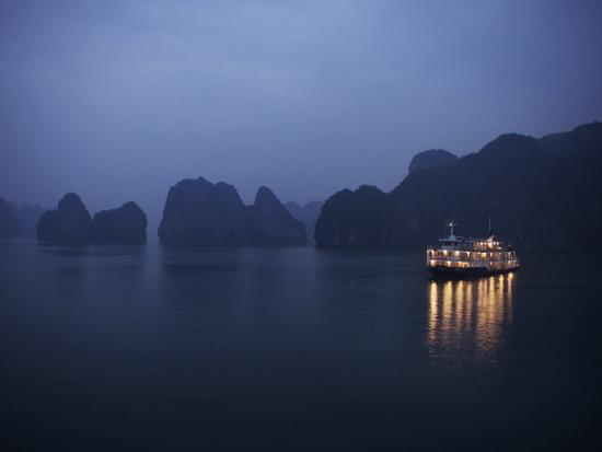Paddle Steamer at Anchor, Dawn, Halong Bay, Vietnam, Indochina, Southeast Asia, Asia-Purcell-Holmes-Photographic Print