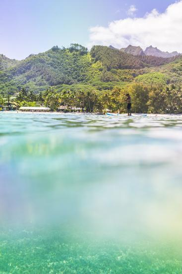 Paddleboarding in Muri Lagoon with Rarotonga in the Background, Cook Islands, Pacific-Matthew Williams-Ellis-Photographic Print